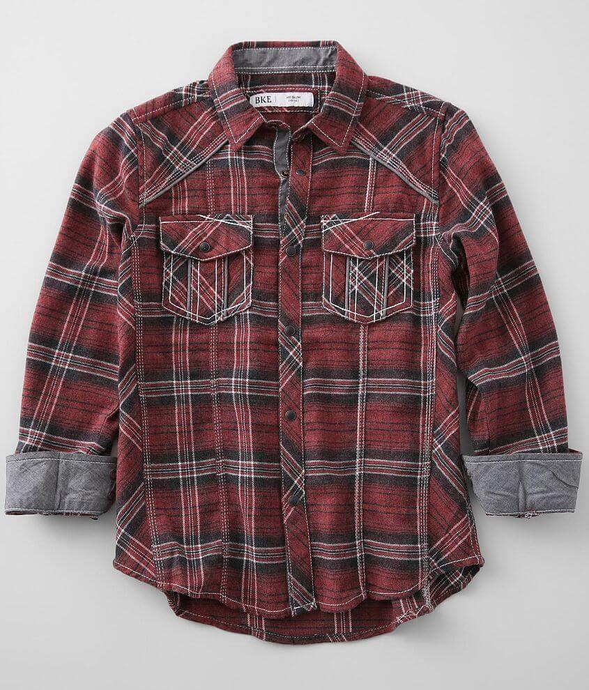 Boys - BKE Flannel Plaid Shirt front view