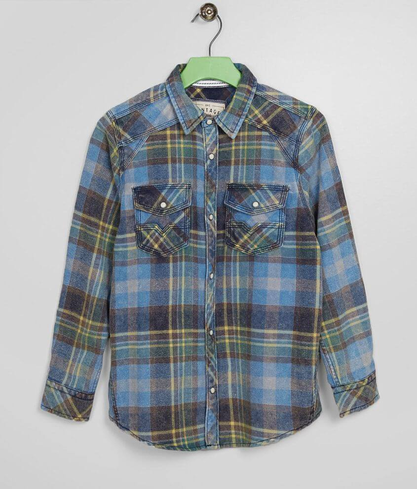 Boys - BKE Vintage Washed Flannel Shirt front view