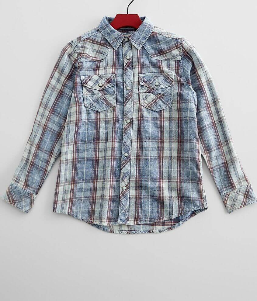 Boys - BKE Vintage Washed Plaid Shirt front view