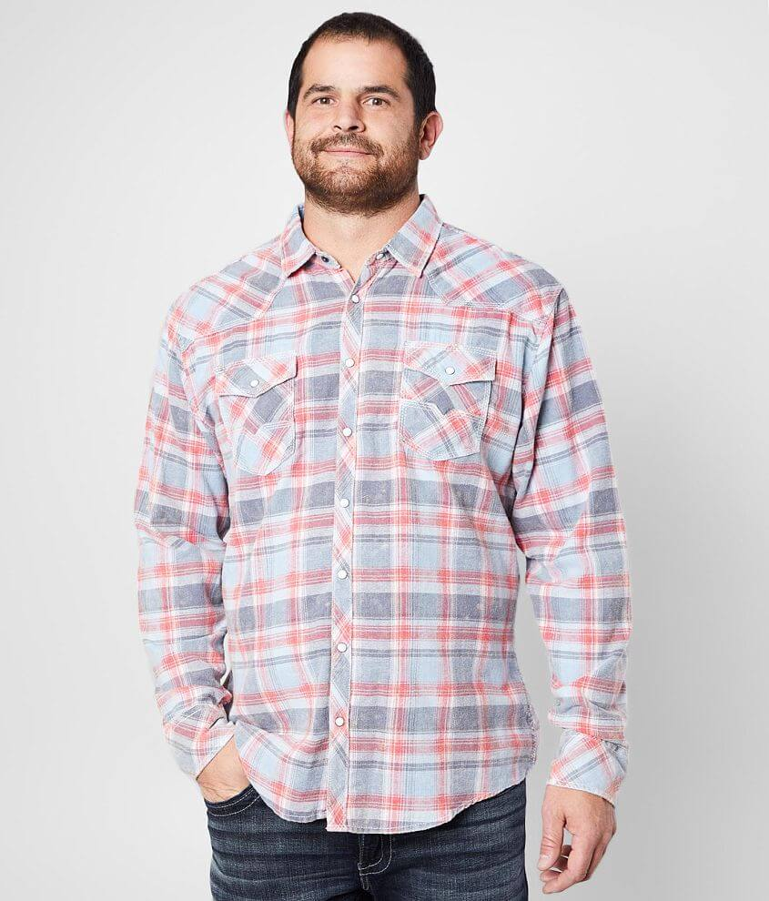 BKE Vintage Brushed Plaid Shirt - Big & Tall front view