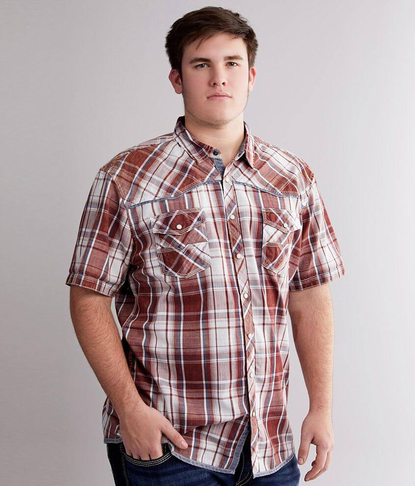 BKE Vintage Washed Plaid Shirt - Big & Tall front view