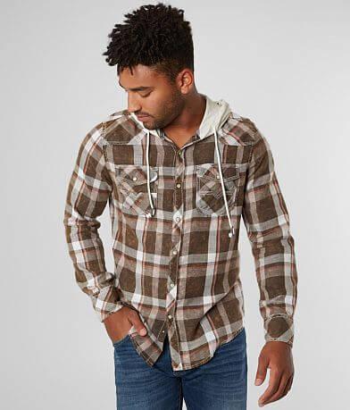 BKE Vintage Washed Plaid Hooded Standard Shirt