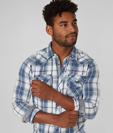 BKE Vintage Brushed Plaid Tailored Shirt
