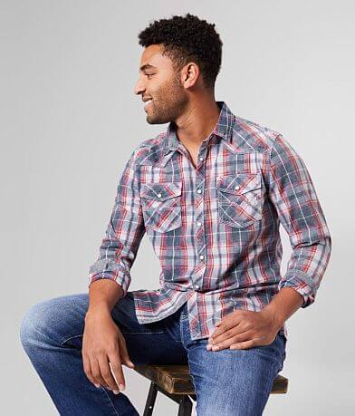 BKE Vintage Washed Plaid Athletic Shirt