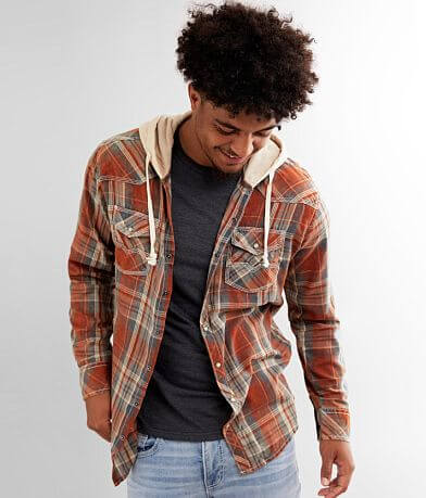 BKE Vintage Plaid Athletic Hooded Shirt