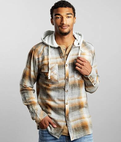 BKE Vintage Plaid Athletic Hooded Flannel Shirt