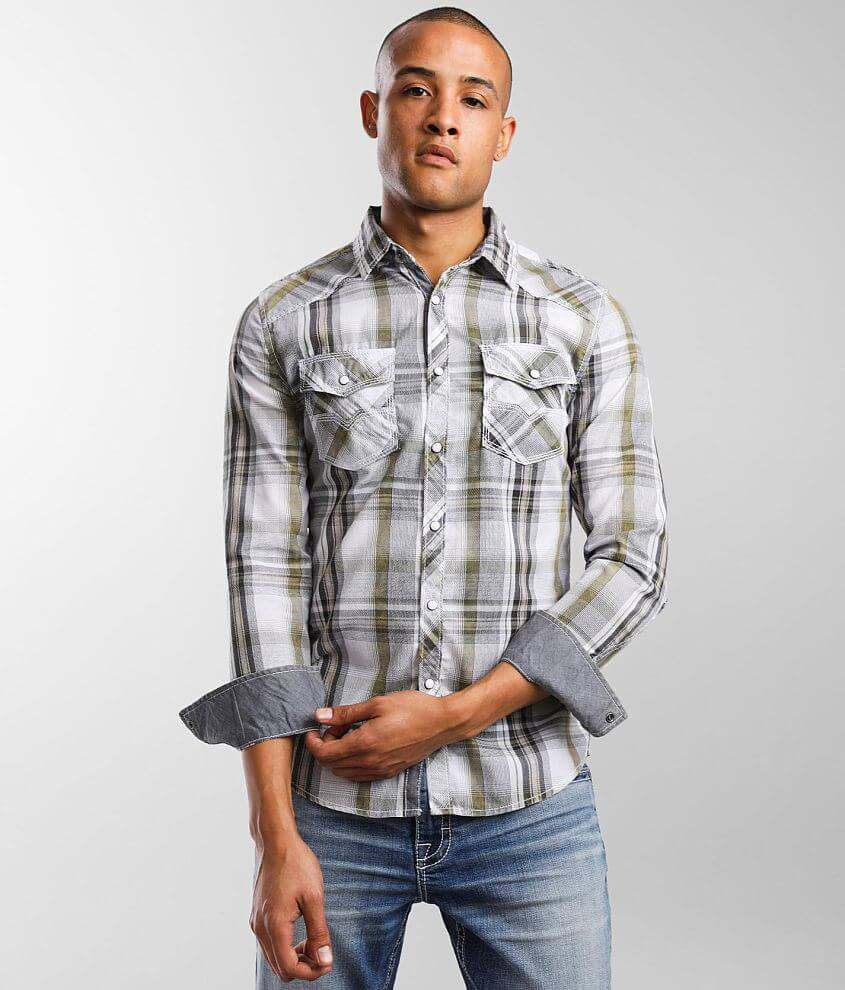 BKE Vintage Plaid Tailored Shirt front view