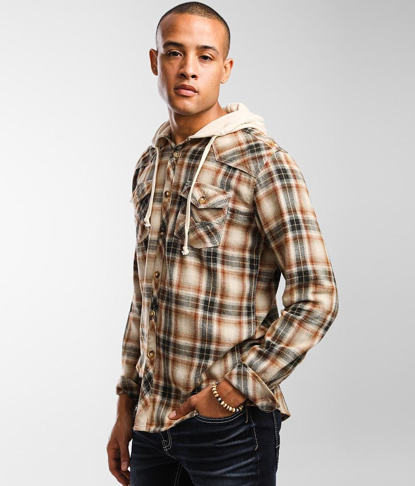 BKE Vintage Plaid Athletic Hooded Flannel Shirt front view