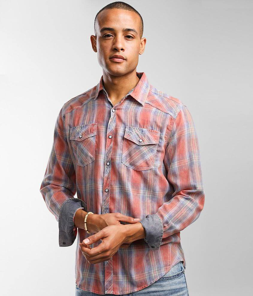 BKE Vintage Washed Plaid Athletic Shirt front view