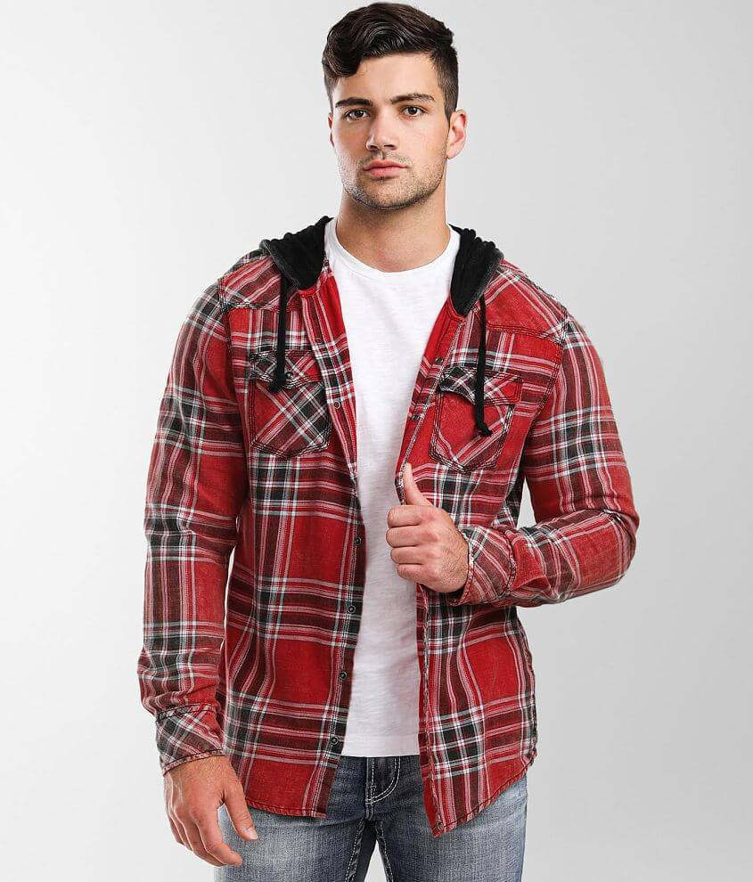 BKE Vintage Washed Plaid Athletic Hooded Shirt front view