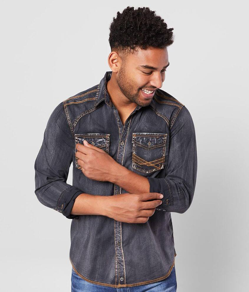 Buckle Black Washed Standard Stretch Shirt front view