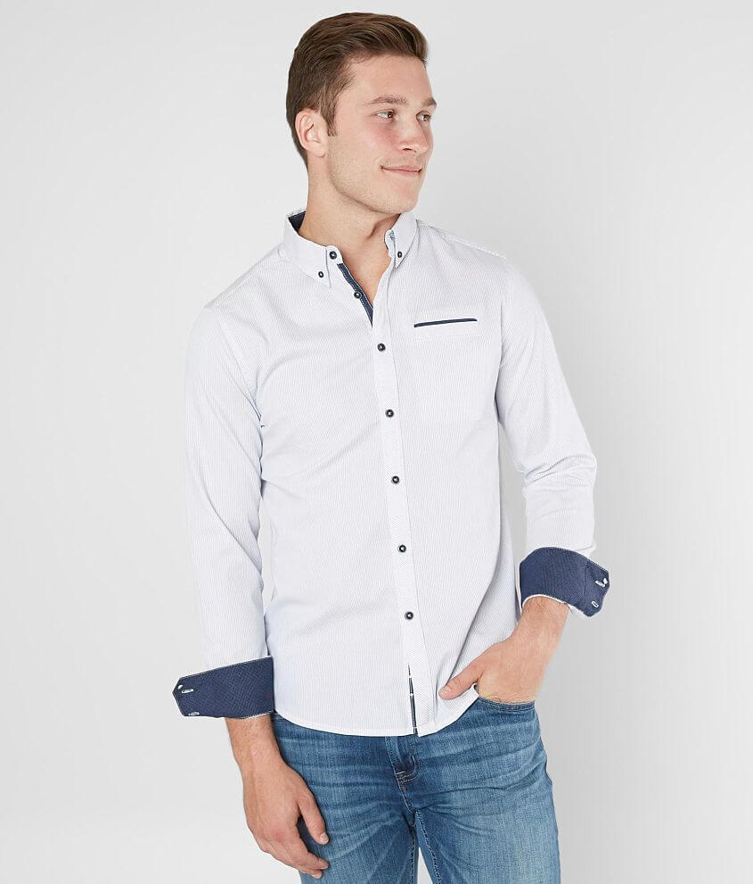 Jb Holt Embroidered Shirt Mens Shirts In White Blue Buckle