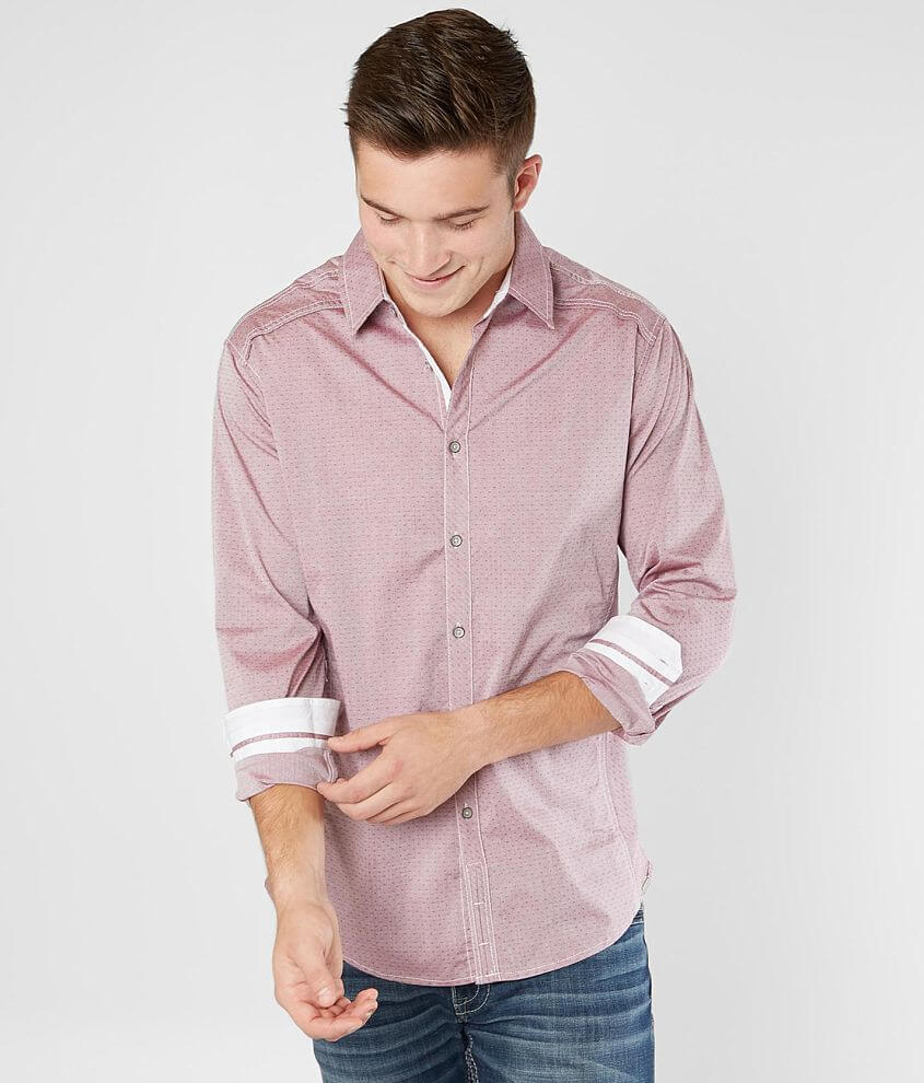 Jb Holt Embroidered Stretch Shirt Mens Shirts In Burgundy White