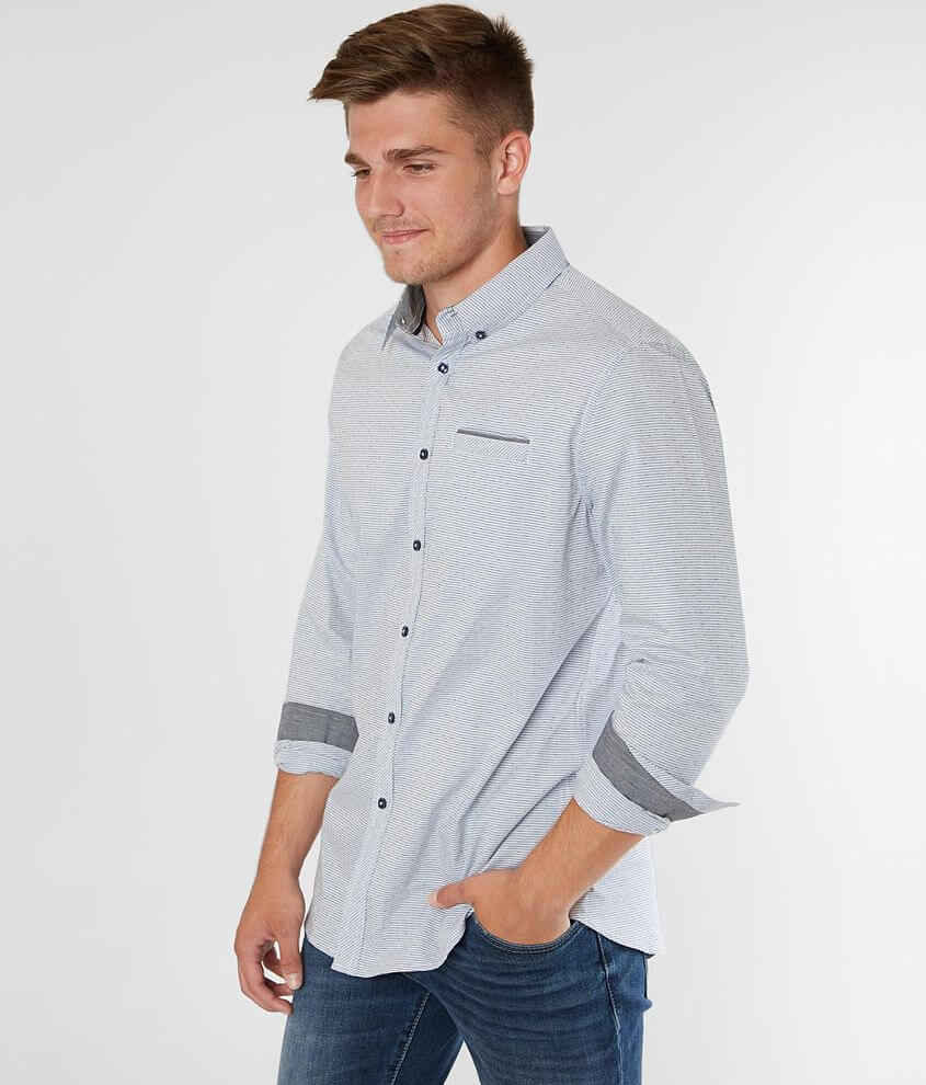 J.B. Holt Striped Athletic Stretch Shirt front view