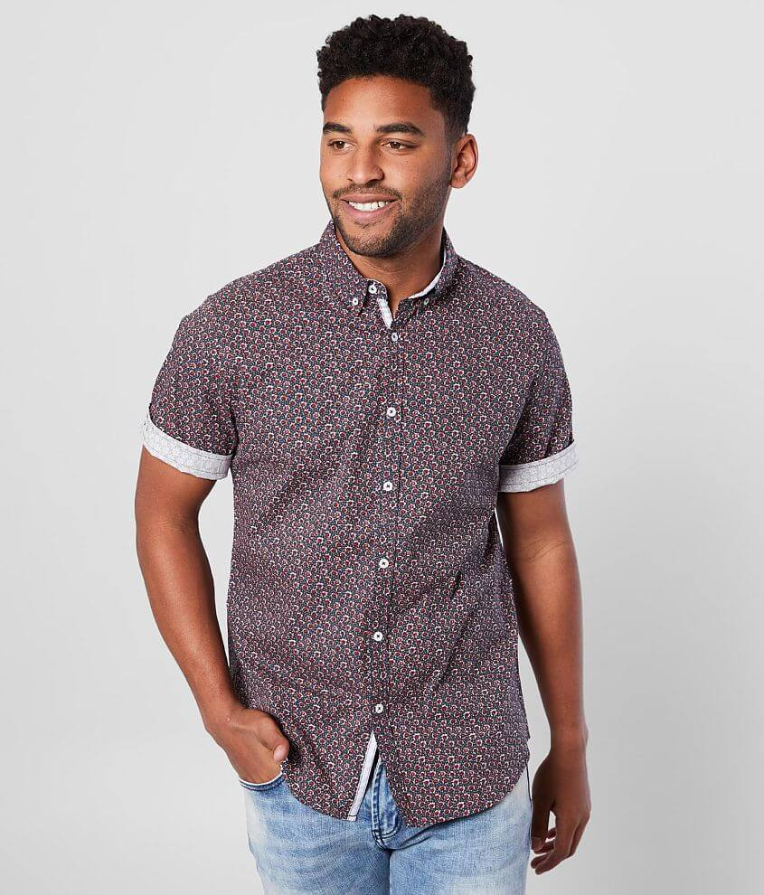 J.B. Holt Floral Athletic Stretch Shirt front view