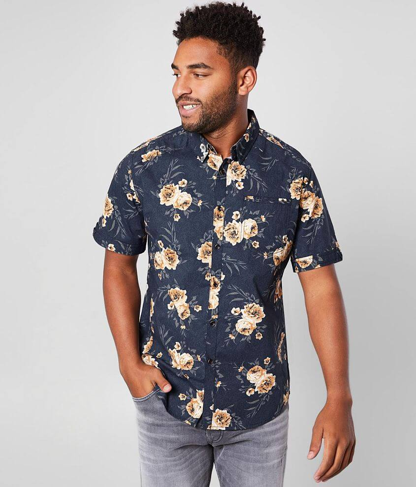 J.B. Holt Floral Print Athletic Stretch Shirt front view