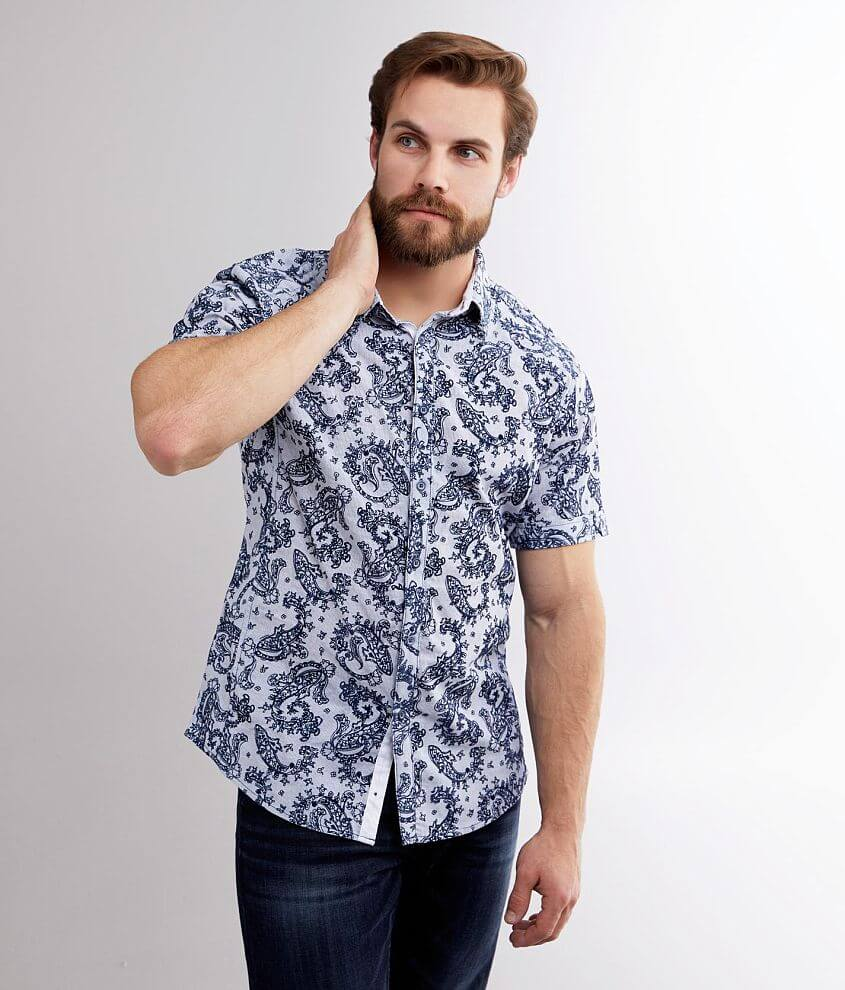 J.B. Holt Flocked Paisley Athletic Stretch Shirt front view