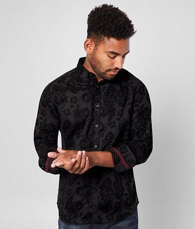 J.B. Holt Flocked Paisley Athletic Stretch Shirt