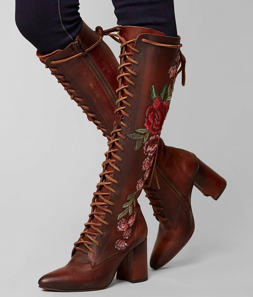 1d891cd550db33 Freebird by Steven Jolie Floral Leather Boot - Women's Shoes in Wine ...