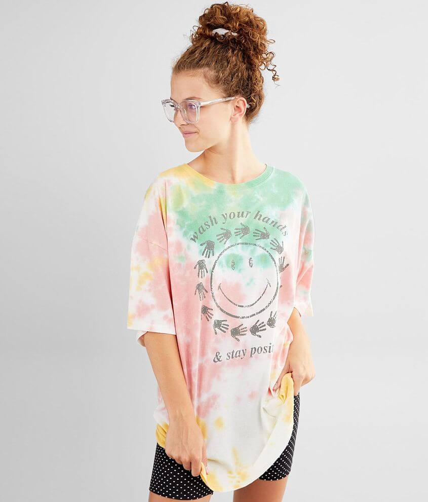 Distressed Smiley® face graphic oversized tie dye t-shirt Bust measures 48\\\