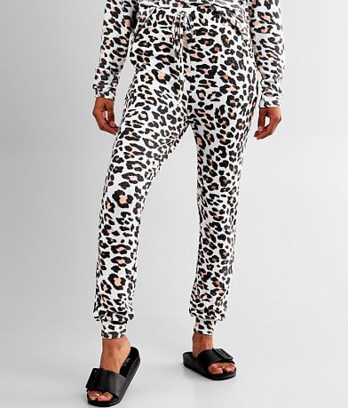Fornia Leopard Print Brush Knit Jogger