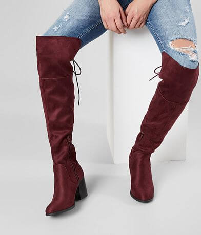 543746bb971 Soda Aspire Lace-Up Over The Knee Boot