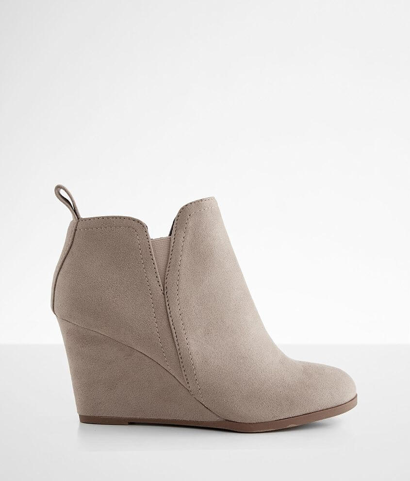 Soda Faux Suede Wedge Ankle Boot front view