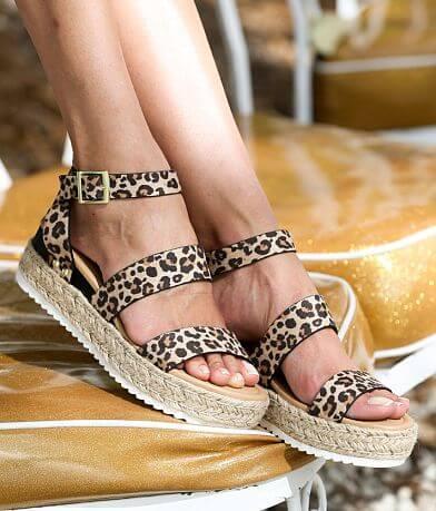 Soda Bryce Cheetah Print Flatform Sandal