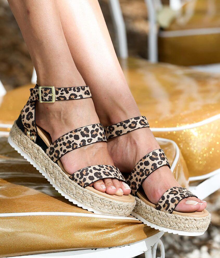 Soda Bryce Cheetah Print Flatform Sandal front view