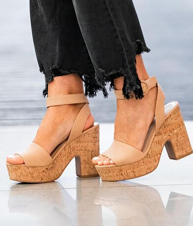Soda Deeds Cork Heeled Sandal