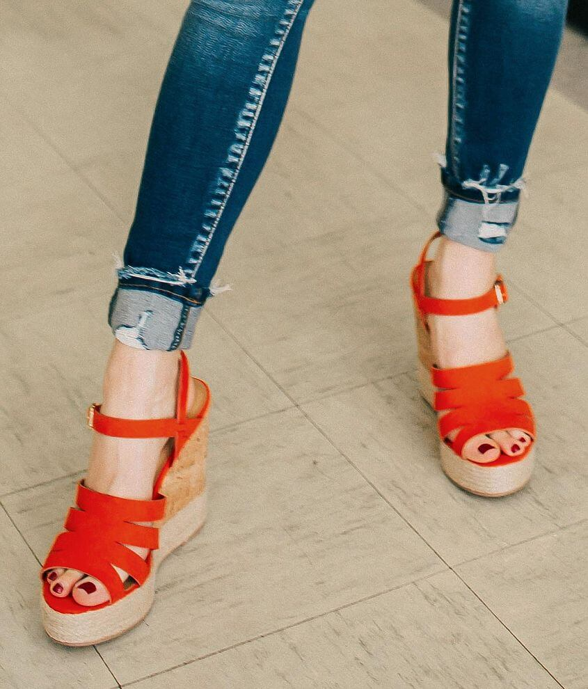 482362b0cc3f My Delicious Shoes Strappy Wedge Sandal - Women s Shoes in Tangerine ...