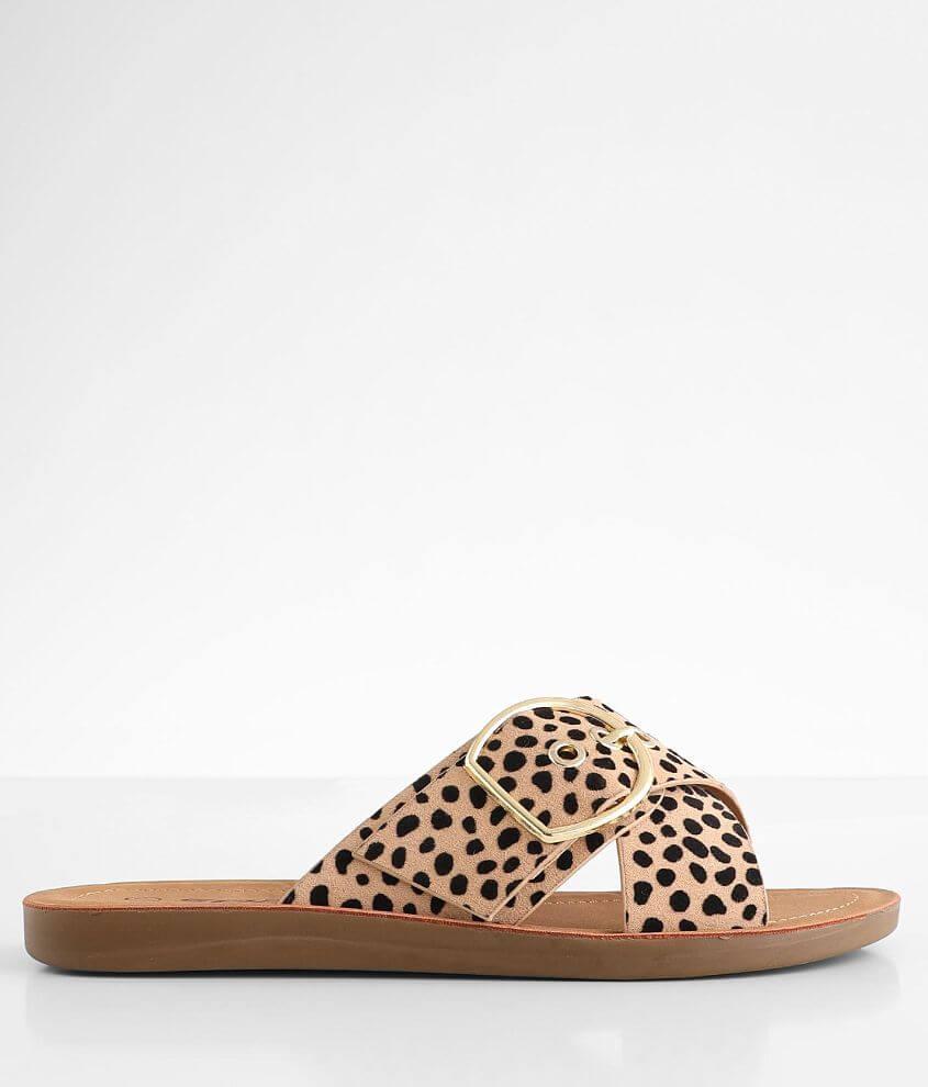 Soda Graphic Cheetah Sandal front view