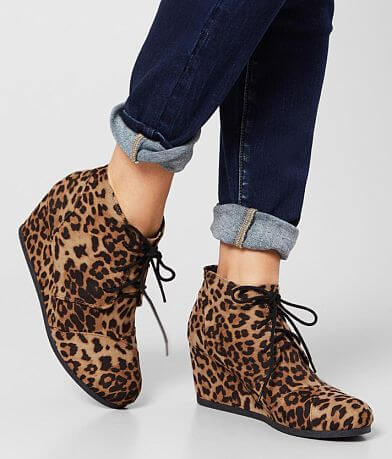 City Classified Rex Cheetah Wedge Ankle Boot