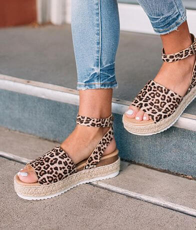 Soda Faux Suede Animal Print Flatform Sandal