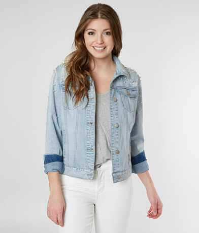 BKE Faux Pearl Denim Jacket