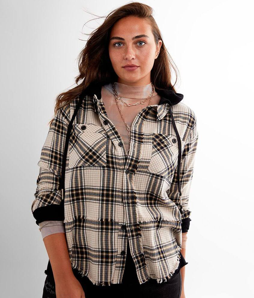 BKE Hooded Flannel Shirt front view