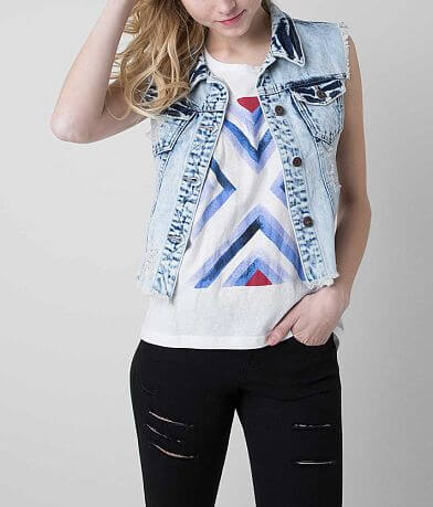 RWH Frayed Denim Vest