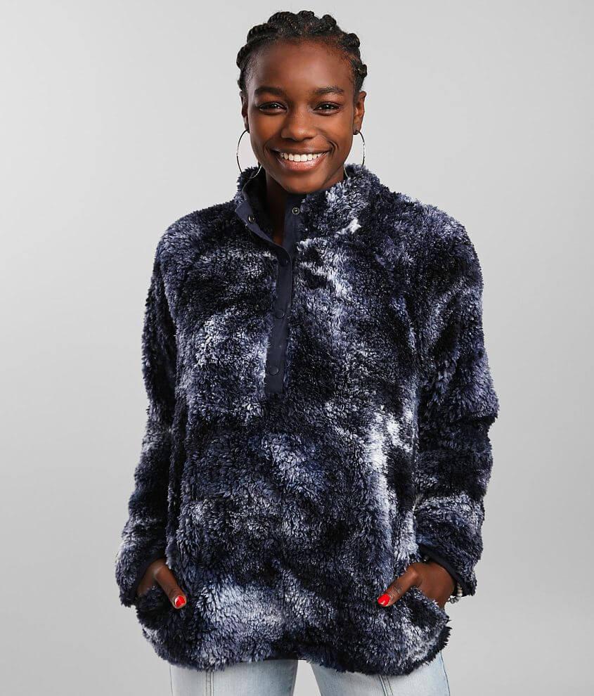 BKE Tie Dye Wubby Faux Fur Pullover front view