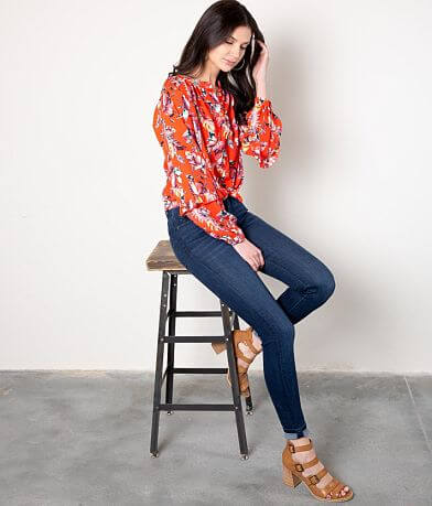 Buckle Black Floral Chiffon Henley Blouse