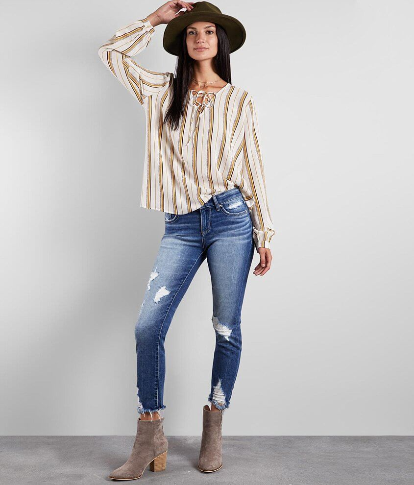Buckle Black Striped Gauze Top front view