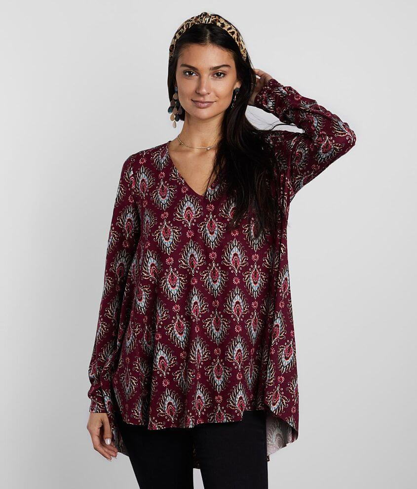 Buckle Black Printed Flowy Top front view