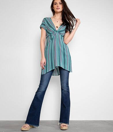 Buckle Black Striped Woven Tunic Top