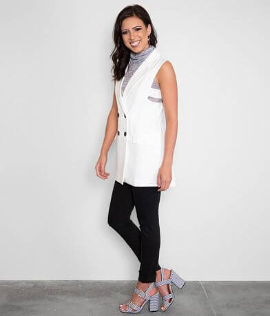 Buckle Black Button Down Cut-Out Vest