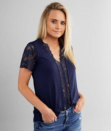Buckle Black Lace Trim V-Neck Top
