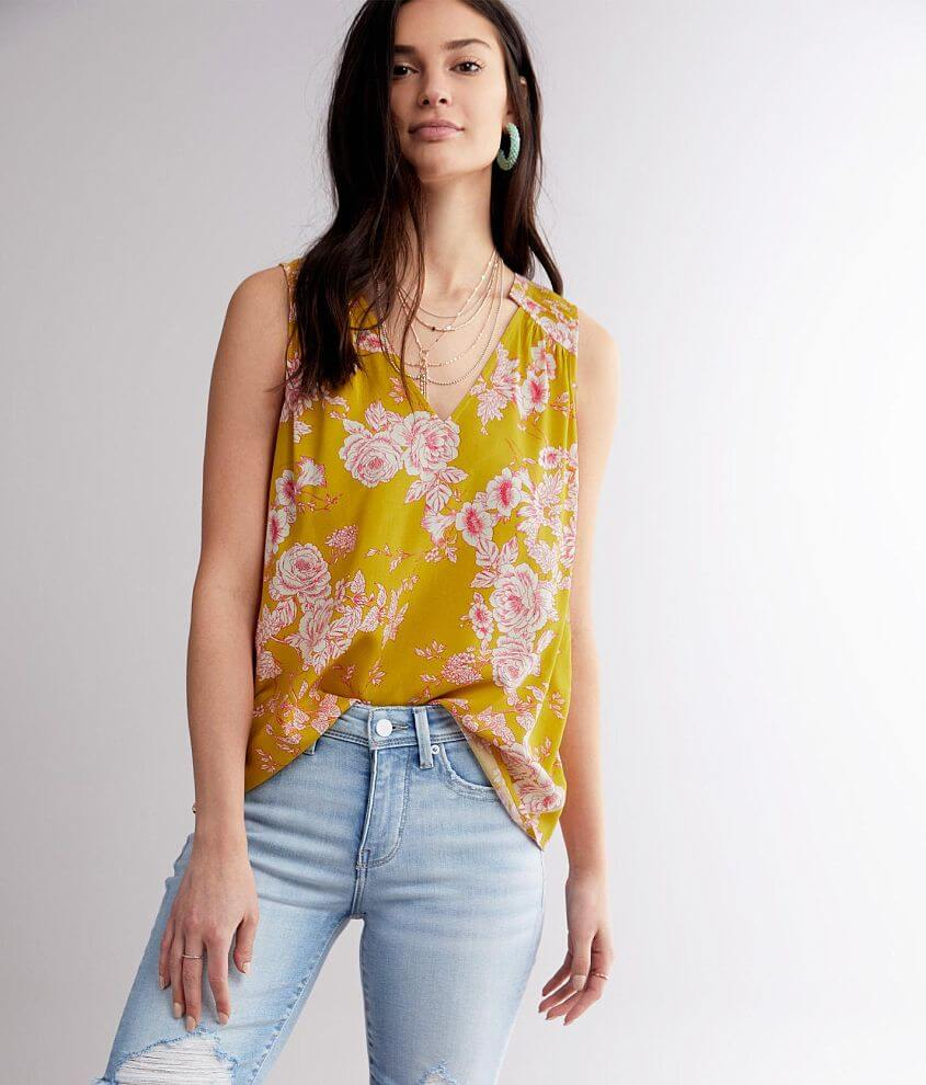 Buckle Black Floral High Low Tank Top front view
