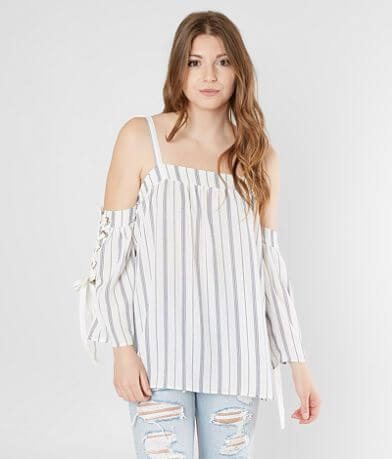 Gimmicks Striped Cold Shoulder Top