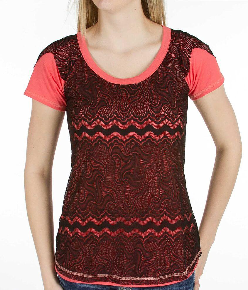 BKE Lace Overlay Top front view