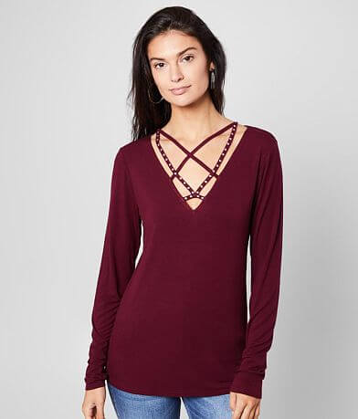 red by BKE Strappy V-Neck Top