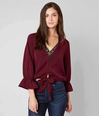 red by BKE Front Tie Blouse