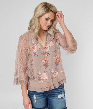 BKE Boutique Floral Mock Neck Blouse